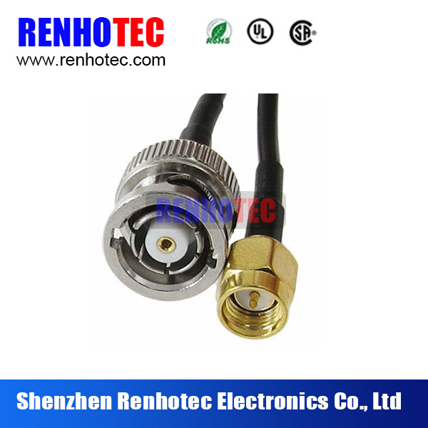 Hot Sell Bnc male and SMA male connector with RG174 cable