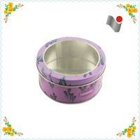 cosmetic metal tin box with clear PVC window