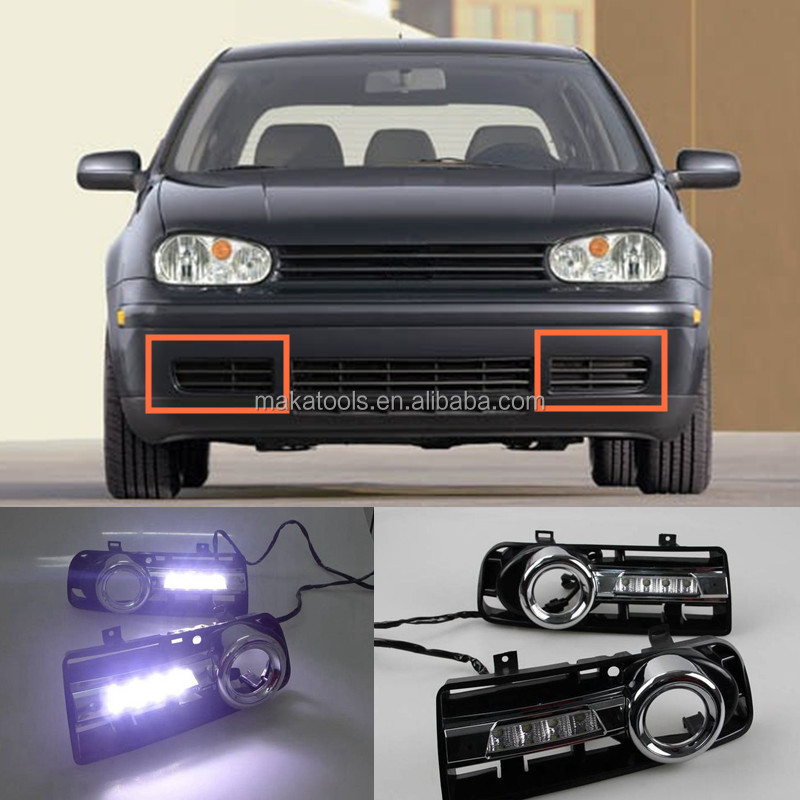 2pcs White LED Daytime Running Light DRL For Volkswagen Golf 4 1999-2006