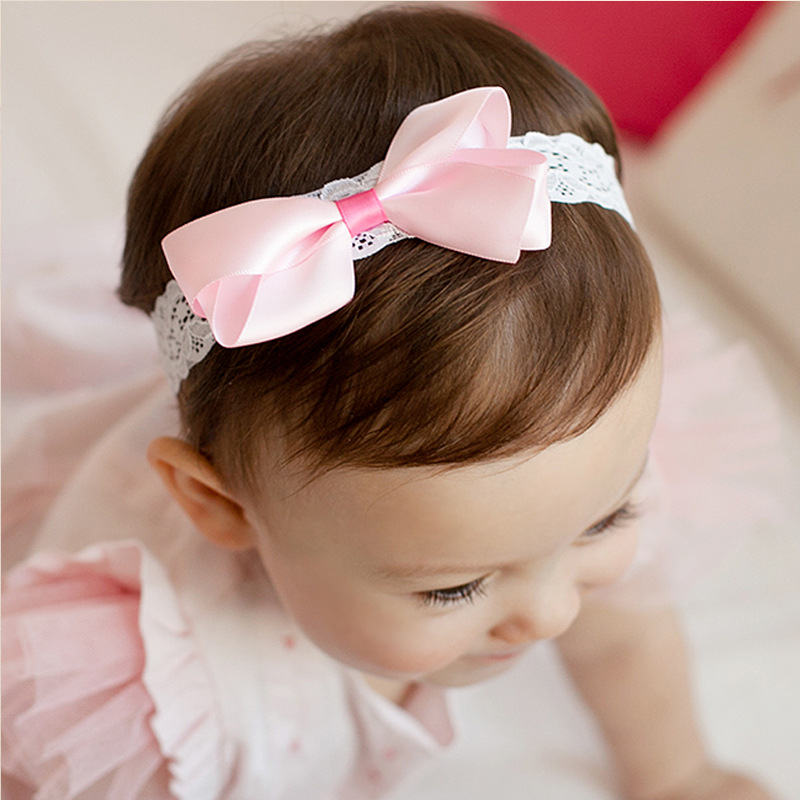 S31761W Baby Cotton Headband Girls Knotted Bow Head Wraps Kids Lace Lovely Hair Accessories