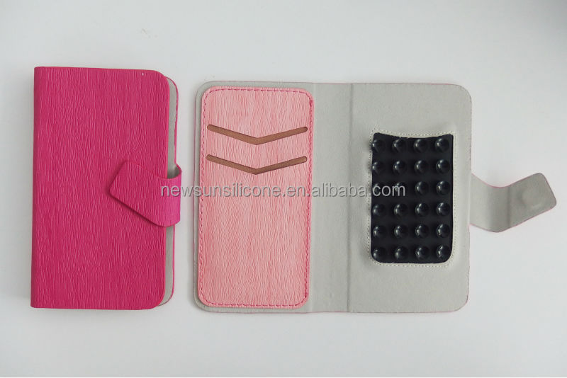 Wallet Leather Universal case with two card slots & suction,universal leather case