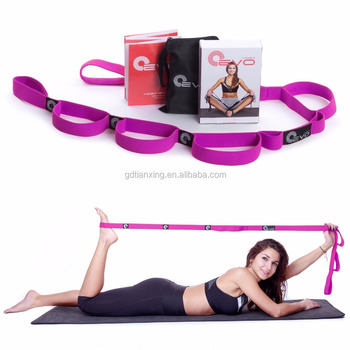 Yoga Workout Elastic Nylon Ballet Stretch Strap Band with 10 Flexible Loops