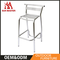 High Quality Night Club High Back Bar Stool Chair With Aluminum Frame