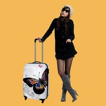 Stock Traveling luggage case fabric printed trolley case