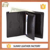 Genuine leather slim wallets men's bifold card holder case