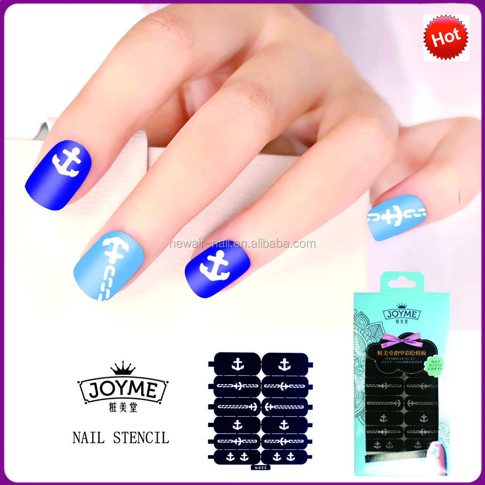 Joyme new product nail art prints PVC nail art template stencil sticker factory