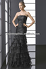 HC2172 Sexy black ruched taffeta organza strapless sleeveless mermaid/trumpet tiered skirt long trendy cocktail dresses 2013