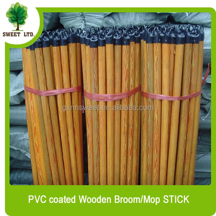 Wooden broom stick made of hard wood / cleaning flooring PVC coated wooden mop stick with italian screw