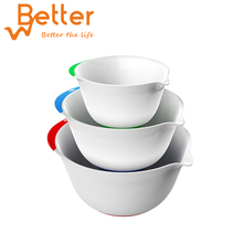 3 Piece Plastic Mixing Bowl Set Nesting Mixing Bowls with Rubber Grip Handles Easy Pour Spout and Non Slip Bottom