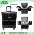 Black Leather Cosmetic travelling trolley case