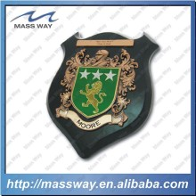 custom embossed 3D zinc alloy metal wooden badge plate shield plaque