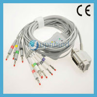 Electrocardiograph Hellige EK53 12-lead ecg cable,banana end electrodes,no resistor,IEC