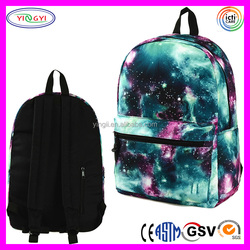 B459 Fashion Sublimation Print Backpack Galaxy Pattern School Cute Galaxy Backpack for Girls