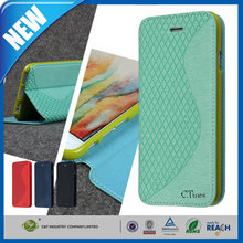 C&T Newest soft tpu leather flip case cover flip for samsung galaxy e7