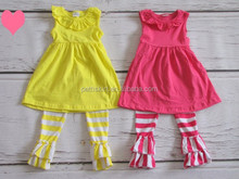 India wholesale clothing plain yellow and red top with stripe ruffle pants dress and pants set baby outfit