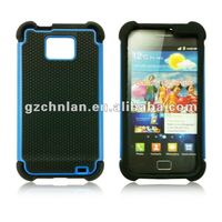 Dual Combo Grip Back Silicone Gel Case Hard / Soft Cover For The Samsung Galaxy S2 i9100