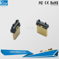 19pin with u-shaped slot HDMI male connector for home theater