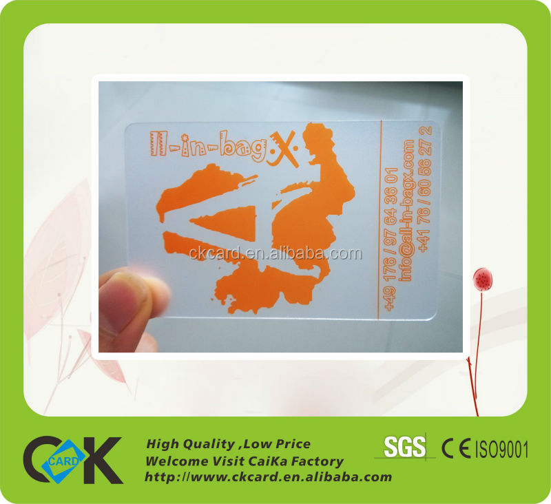 frosted transparent/clear plastic business card printing ...