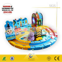 Wangdong railway train cartoon train games amusement park equipment for sale,hot sale Happy railway train amusement equipment