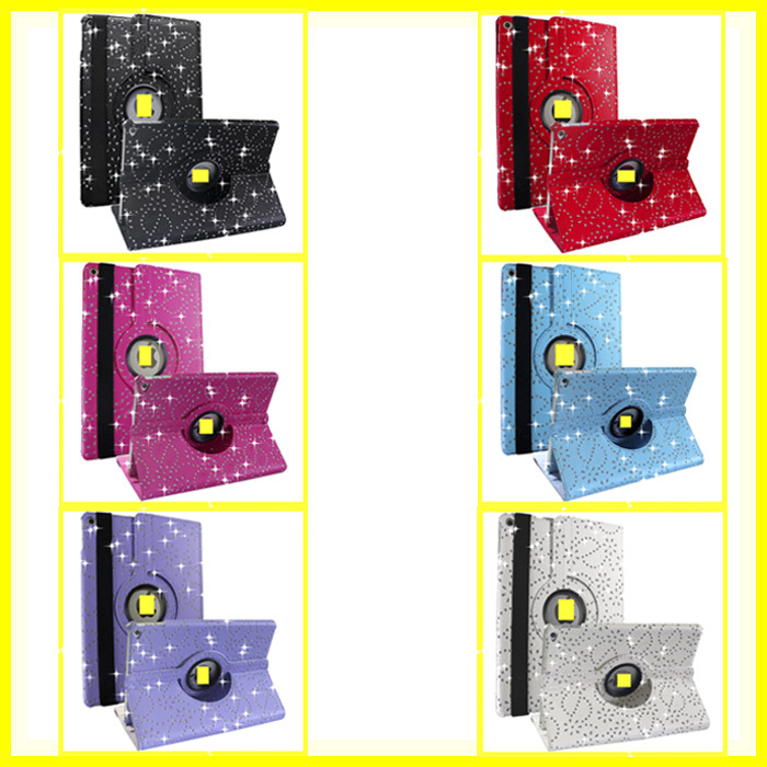 360 Swivel Rotating Bling Sparkly Leather for ipad 6 case Crystal Diamdond Luxury Style Automatic Sleep for ipad air 2
