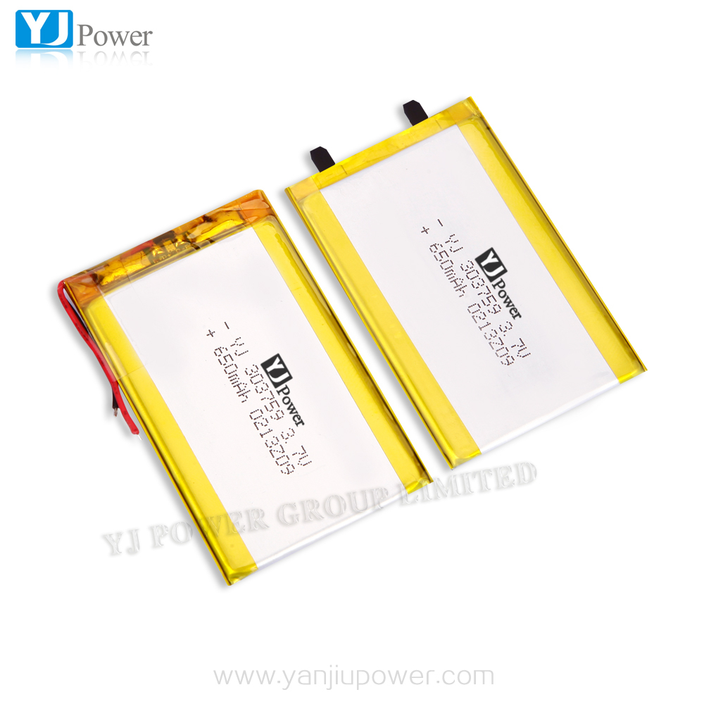 China lithium battery pack 303759 3.7v 650mah yj battery ,650mah rechargeable li-po battery cell without connector