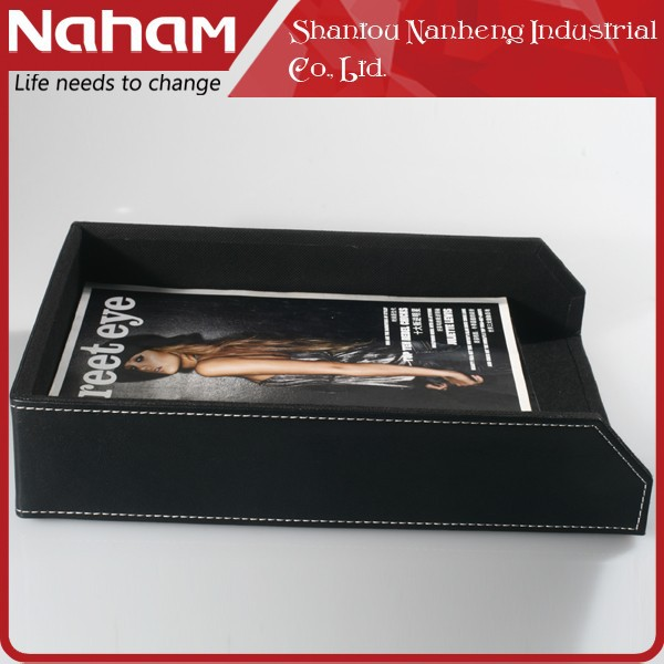 NAHAM office stackable faux leather A4 letter file tray