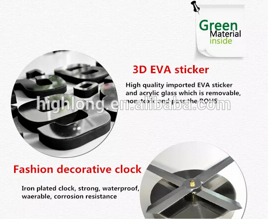 Quartz Type Children DIY wall clock Modern Design 3D EVA Sticker Decorative Large Wall Clock