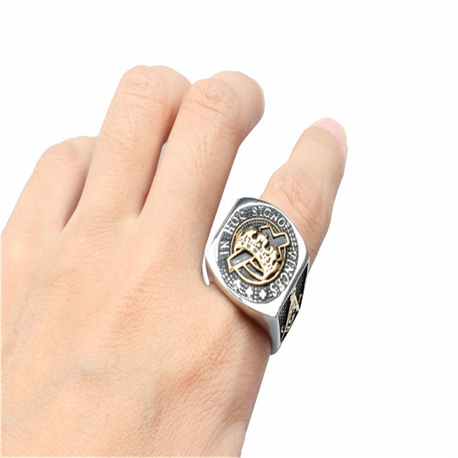 Foreign trade jewelry wholesale, South Korea version of personality ring, freemasonry titanium steel ring YSS755