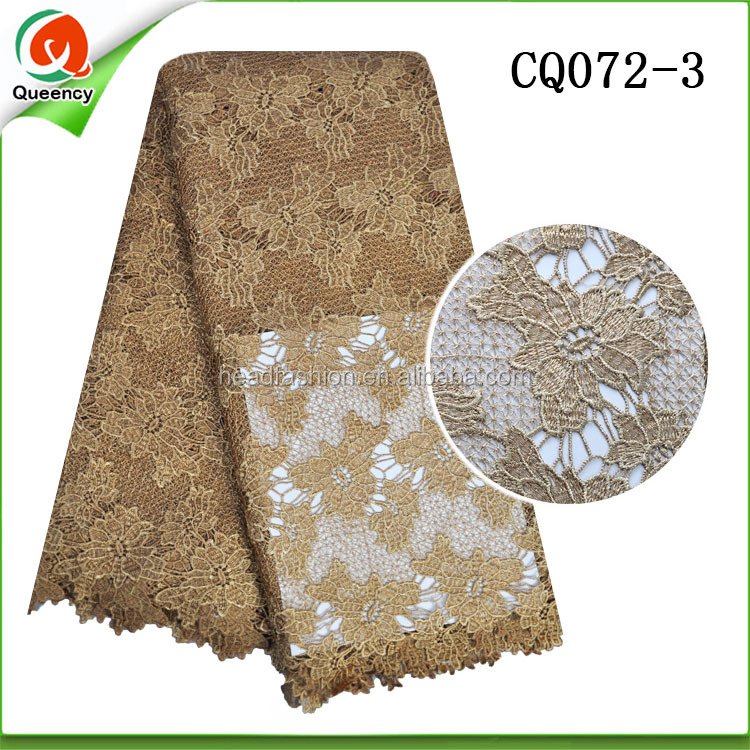 gold guipure cord lace fabrics african crochet poly lace for garment CQ072-3