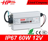 Factory supply 12v 5amp led smps single output type constant voltage waterproof led driver ip67