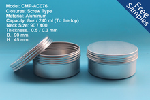 240g 8oz Aluminum Screw Container, 8oz 240ml Aluminum Box, 8oz 240g Aluminum tin