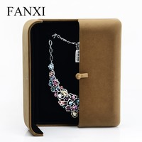 FANXI china supplier large size coffee color velvet double open necklace box gift box for engagement jewelry box