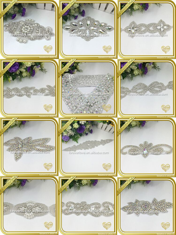Wholesale rhinestone and pearl beaded applique ornaments lace trimming rhinestone trimming