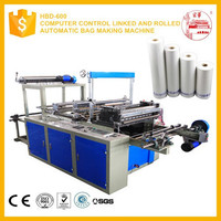 Computer control linked and rolled automatic bag making machine