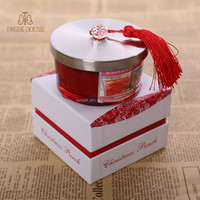 Wholesale Fashion White Scented Soy Wax Candle In Glass Jar with steel Lid