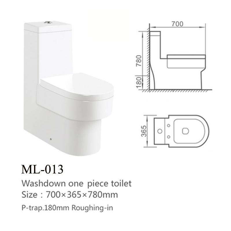 Back To Wall P Trap Bathroom Washdown Toilet Sanitary Ware