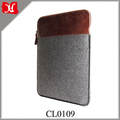 Wholesale Soft Brown Leather Laptop Sleeve Dark Grey Laptop Bag for Macbook Air Pro 13 Inch