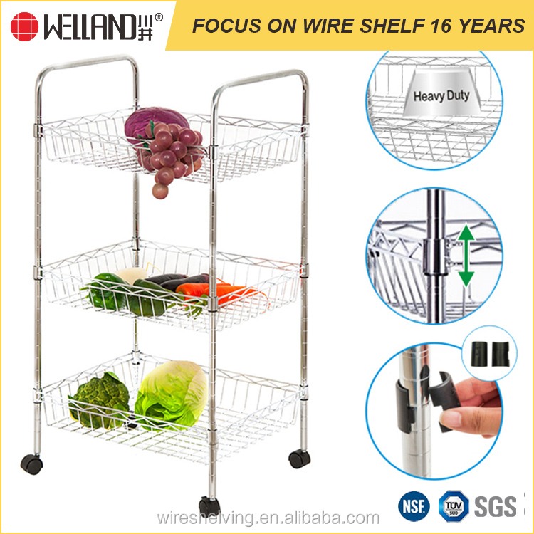 3 Tier Square Kitchen Storage Rack Fruit / Vegetable Trolley Cart With Wheels