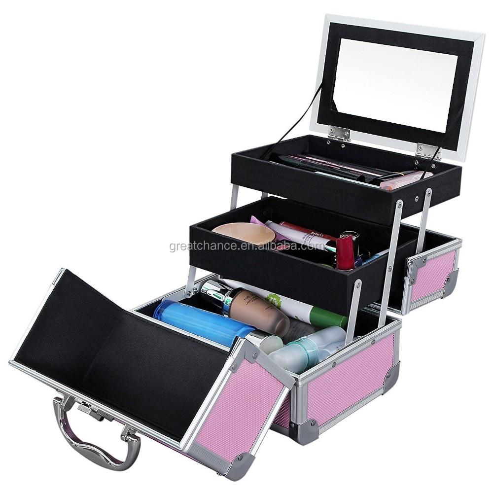 Mini Makeup Train Case Alumi Portable Cosmetic Box With Mirror Pink