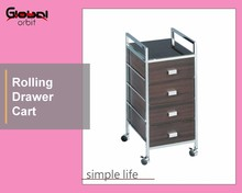 Sturdy Sort Drawer Trolley MDF Lightweight Medical 4 Drawers Rolling Carts
