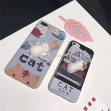 Lovely 3D squeeze squishy lazy cat silicone phone casing cellphone case for iphone 7 7Plus soft TPU cover