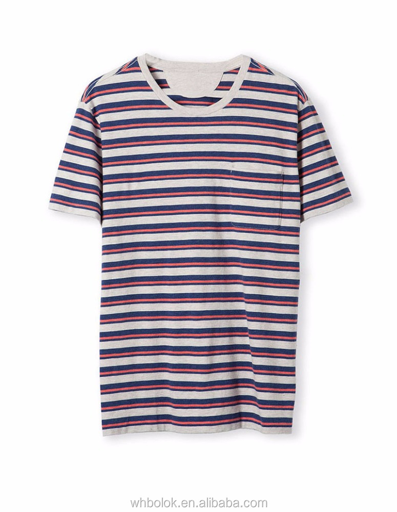 Fashionable wholesale men t shirts knit cotton stripe t shirt for man O neck design