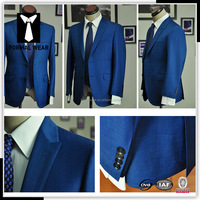 ready made high quality royal blue wool designer men suits