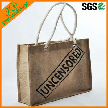 High quality new pop cotton rope handle eyelet lamination jute tote bag(PRA-950)