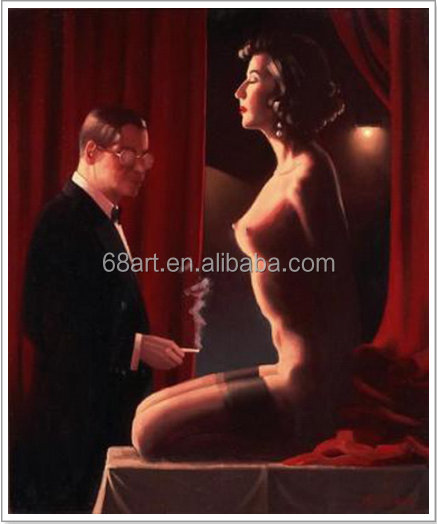 Jack Vettriano alluring nude woman Masterpiece oil painting
