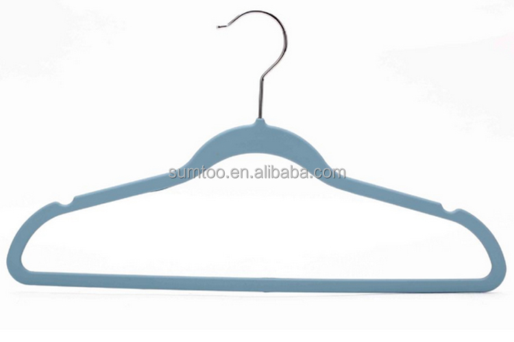 hot sale velvet flocked hangers with logo purple velvet hangers