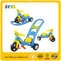 Three in one multifunctional kids tricycle with back seat rocking car toys cheap baby walker