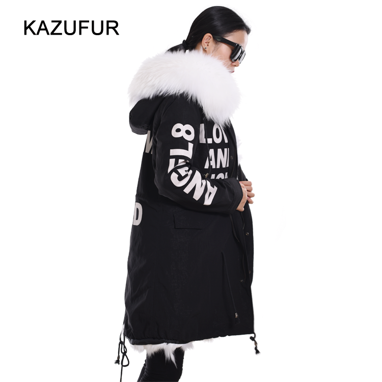 2016 Street Fashion Winter fur hooded parka for ladies black parka coat with white fur