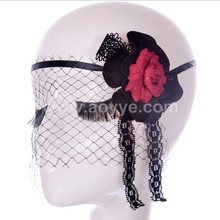 Fashion vampire gothic punk ghost mesh mask sexy black lace flower mask