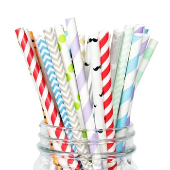 Custom design wrapped biodegradable kraft drinking paper straw